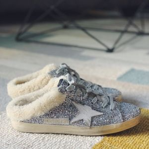 Golden Goose Shearling Lined Glitter Sneaker Mules